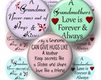 Grandma, 1 Inch Circles, Bottle Cap Images, Instant Download, Digital Collage Sheet, Sayings, Grandmother, Pendants, Magnets, Key Ring, No.2