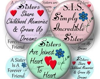Sisters, Digital Collage Sheet, Instant Download, Bottle Cap Images, 1 Inch Circles, Sister Sayings, Quotes, For Bottle Caps, Glass Tiles