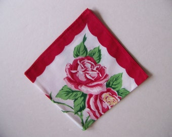 Roses Handkerchief Hanky Hankie Pink Red Roses Collectible Womens Accessories Bride Wedding Shower Love Gift