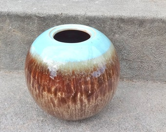 Modern Brown And Aqua Blue Vase Ceramic Mod Home Decor Bathroom Beach Cottage Chic