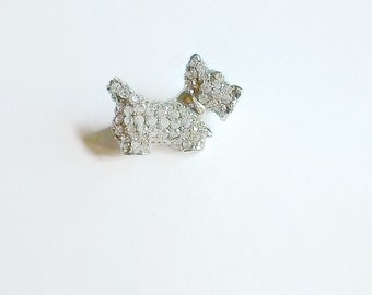 Vintage Scotty Dog Brooch Rhinestone Pave 1970s
