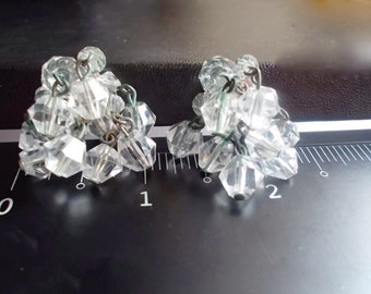 Vintage Crystal Earrings Cha Cha Hanging Clear 1950s Bridal Wedding