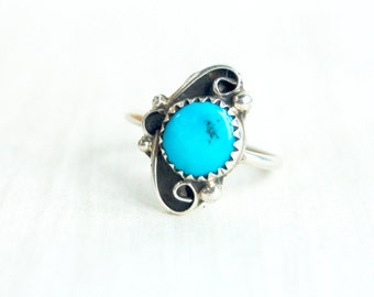 Turquoise Ring Band Size 7 .5 Vintage Southwestern Sterling Silver Jewelry Native American Trading Post