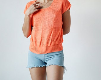 Vintage 80s Bright Orange Sweater Short Sleeve Shirt Size Small/Medium Made in USA - Blue 3