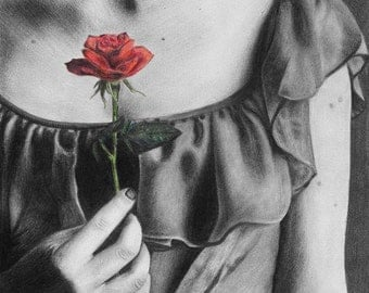 Promises... Original Graphite and Colored Pencil Drawing Realistic Woman Figure Dress Flower Rose Realism