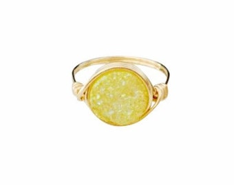 Lemon Drop Druzy Round Statement Ring