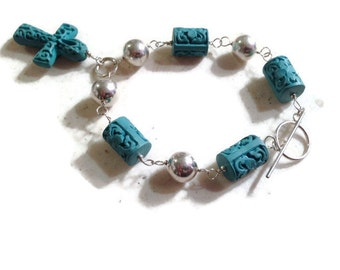 Turquoise Bracelet - Cross - Sterling Silver Jewelry - Cinnibar Jewellery - Fashion - Mod - Funky