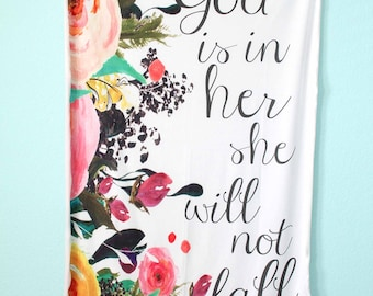 God is In Her Baby Girl Scripture Blanket, Cuddle Swaddle-double layered jersey-Lightweight, Bible verse, Life verse, Psalm