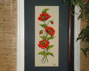 Large Crewel Embroidery Needlework-Poppies in Bloom-Long Narrow-Flowers Floral-Paragon