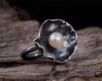 Sterling Silver Pearl Ring-Freshwater Pearl Ring-Pearl Jewellery-June Birthstone Rings-Handmade Pearl Ring-Statement Rings