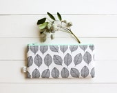 Zipper Pouch, Pencil Pouch, Back to School, Pencil Case, Black and White, Leaves, College, Kids, School Supplies, Teens, Women, Organize