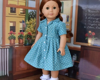 1950s Shirtwaist Dress in Teal and Polka Dots for Maryellen or 18 inch Doll