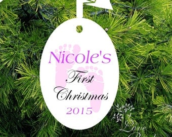 Baby's Christmas Ornament -Footprint Ornament - Personalized Baby Girl Ornament - Baby's 1st Christmas Ornament