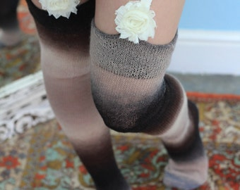 Thigh High stockings - Victorian Steampunk Edwardian OVER THE KNEE - chocolate and cream