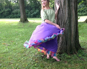 Skirt Gypsy 5 Yards with Ruffle Boho Renaissance Pirate Steampunk Belly Dance 100% Cotton