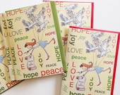 Pack of 6, Peace on Earth, 5 x 7 notecard from original watercolour