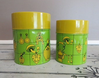 Retro Kitchen Canisters Canister Set Kitchen Storage Metal Canisters Green and Yellow Funky Kitchen Kitschy Kitchen