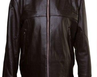 Ladies brown leather sport jacket