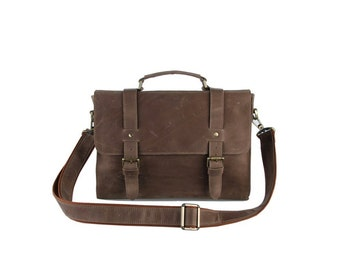 Mens ash brown genuine leather messenger bag with double buckle flap closure