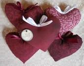 Primitive Valentine Heart Ornies Love Bowl Filler Tucks Holiday Decor Burgundy Red