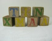 Vintage WOOD BLOCKS Childs Toy ALPHABET Set/7 Block ABCs Pictures