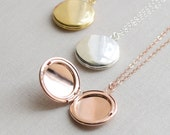 Round Locket Necklace - Rose Gold, Gold and Silver - 1359