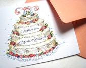Personalized Wedding Card - Wedding Cake Anniversary Card - Hand Lettered Card - Take the Cake