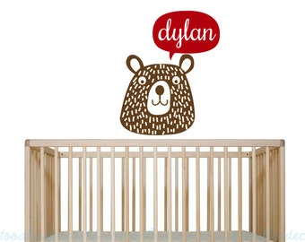 Bear Name Wall Decal - Forest Friends Decor - Campfire Critters Wall Decal - Boys nursery decals - Name Decals - Bear Stickers for Boys