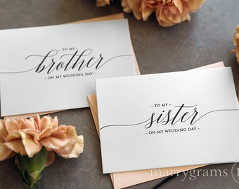Wedding Card to Your Brother or Sister -- Siblings of the Bride or Groom Cards - To My Sister-in-Law, Brother-in-Law On My Wedding Day CS13