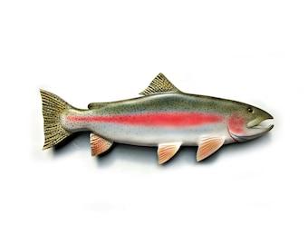 Rainbow Trout 30 in. trout art sculpture Fish Wood Carving, Trout wood carving, trout art decor, cabin lodge art, trout decor, folk art,