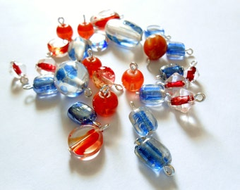 Orange/Blue/Clear   Transparent Glass Dangle Beads