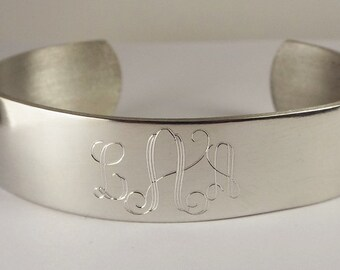 Custom Engraved Monogram Bracelet Personalized Pewter Cuff Style Name Initial or Monogram - Hand Engraved