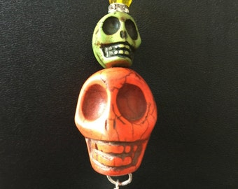 Sugar Skull Pendant - OOAK In Orange and Green Sugar Skulls Day of the Dead Jewelry Dia de los Muertos All Saints Day Mexican Holidays