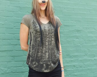 Womens tshirt - Womens Tops - FOREST Tshirt - Womens tee - REDWOOD FOREST