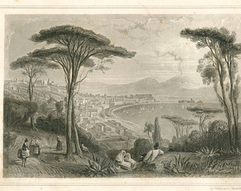 1856 Antique Landscape Print View of Naples and Mount Vesuvius Italy Black and White Engraving