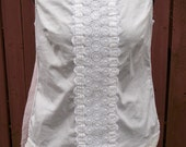 White & Cream Blouse with Vintage Trim and Pink Sheer Polka Dot Back - Shabby Chic Clothing - Small 8 Petite