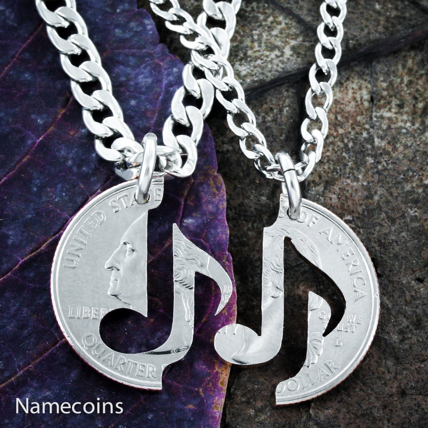 Music Note Necklace set for couples You Make My Heart Sing