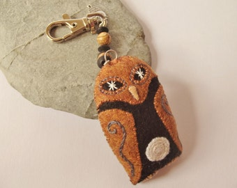 Recycled Eco Felt Hand Embroidered Owl Spiral Moon Bag Charm - Purse Charm - Keychain - Picture Jasper Gemstone