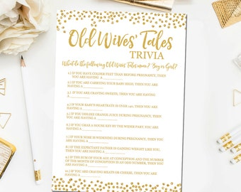 Gold Baby Shower Game Printable, Old Wives' Tales Baby Shower Game, Gold Baby Shower Game, Baby Shower Games Instant Download BB6