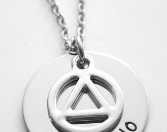 AA Recovery Unity Symbol Necklace - Sobriety Date or name - Recovery Necklace