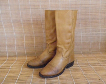Vintage Lady's Tan Brown Leather Riding Boots Size EUR 39 / US Woman 8 1/2 Tony Mora