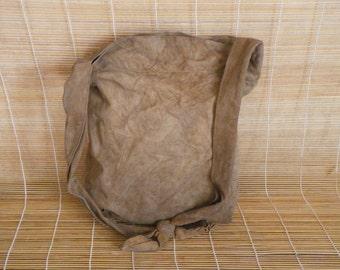Vintage Aged Lady's Brown Beige Soft Suede Zip Up Top Hand Bag Hobo Purse