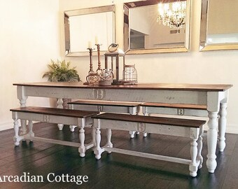 8 Foot Farm Table Handmade with Reclaimed Barn Wood by Arcadian Cottage