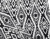 Woven Cotton Fabric Tribal Fabric Native Fabric by the yard Ethnic fabric Aztec Craft Supplies Woven Textile 1/2 yard Black White (WF143)