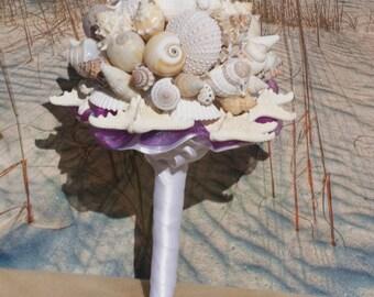 I Do Beach Raspberry Starfish and Seashell Bouquet