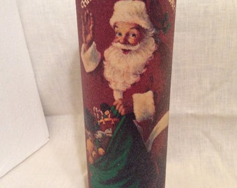 Vintage Old Fashion Beaded Santa Claus Glass Candle Holder Bag of Toys