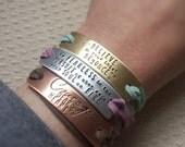 Wrap Bracelet Personalized Magnet Clasp Inspirational Motivational Vegan Faux Leather Triple Wrap
