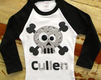 Boys Halloween Long Sleeved Personalized Skull Shirt, Size 6-12m to 12yrs