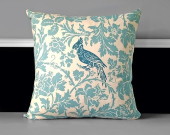 """Pillow Cover - Barber Village Blue/ Natural 20"""" x 20"""", Ready to Ship"""