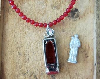 HEROS--------Early 1900's St Anthony Vintage Pocket Shrine Religious Ensemble Jade Necklace